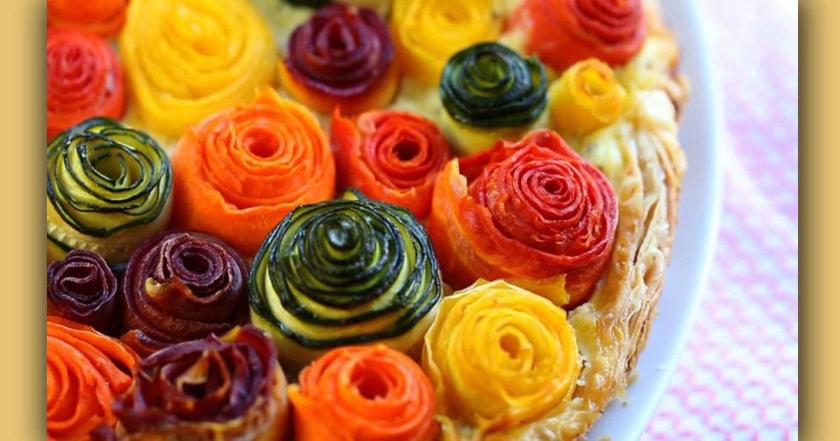 Очень красивый овощной пирог из слоеного теста