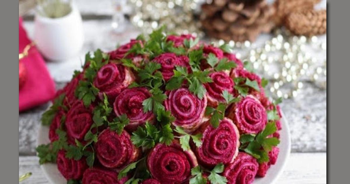Приготовит даже ребенок. Салат «Букет роз», обалденное украшение на праздничный стол